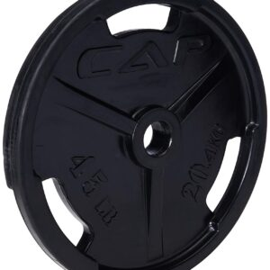 CAP Barbell Black Olympic Rubber Grip Plate