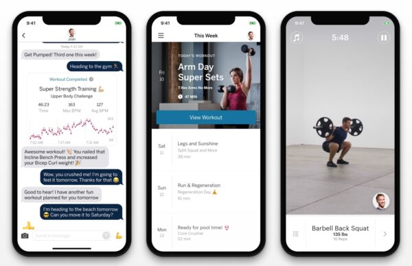 Screenshots of the Future fitness app