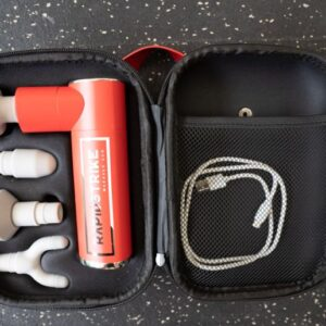 REP Fitness Massage gun in its carrying case with attachments