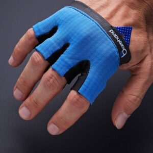 Aerial view of the barehand gloves on a hand against a gray background