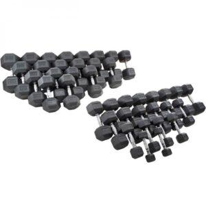 Titan Black Rubber Coated Hex Dumbbells