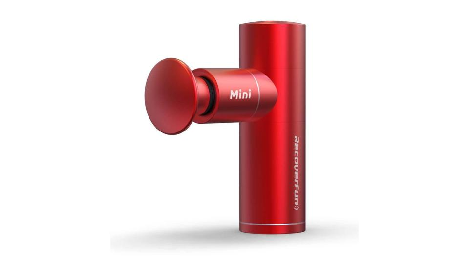 Product photo of the Recoverfun Mini Massage Gun on a white background