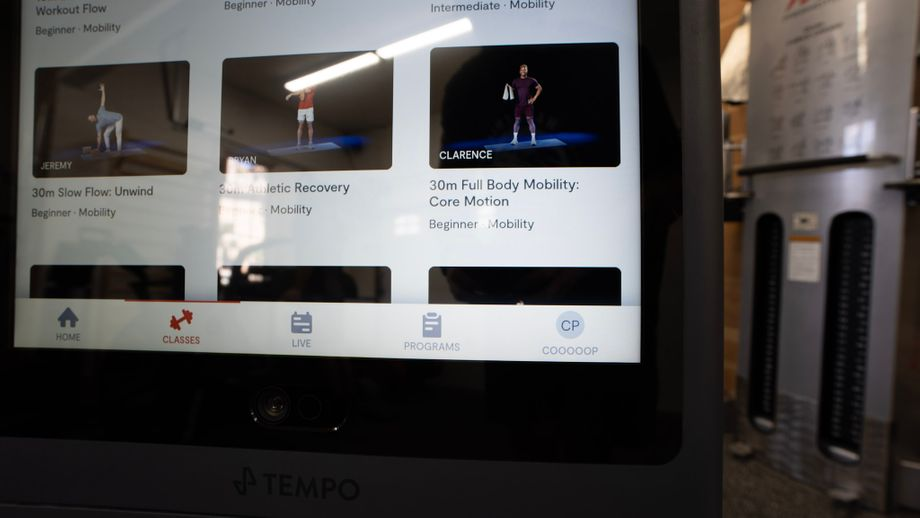 Closeup of the screen on Tempo Studio showing workout options