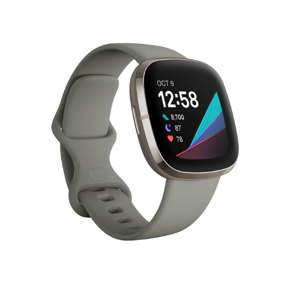 An image of the Fitbit Sense with a white band