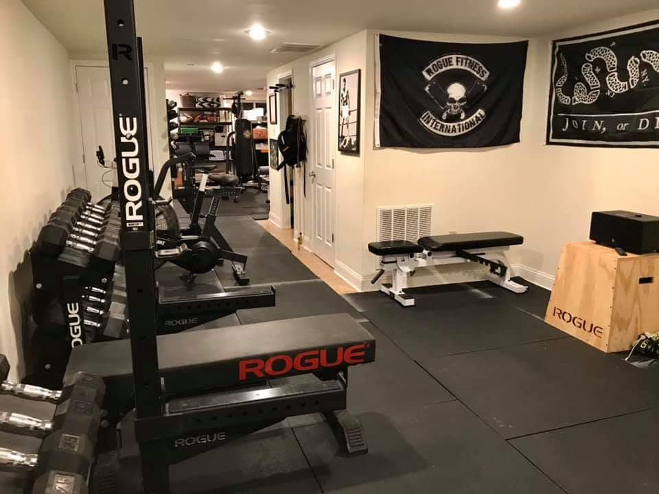 Home gym with Rogue Fitness equipment