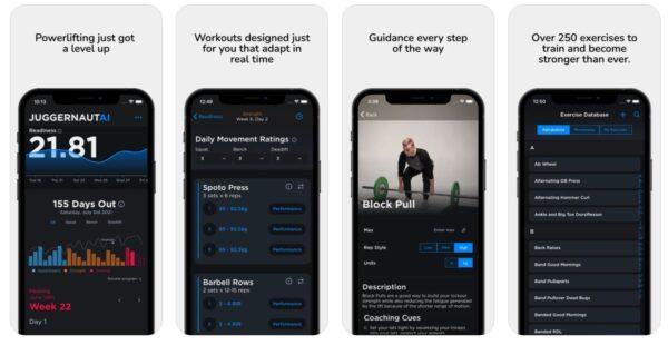 screenshots of the JuggernautAI app from the App Store