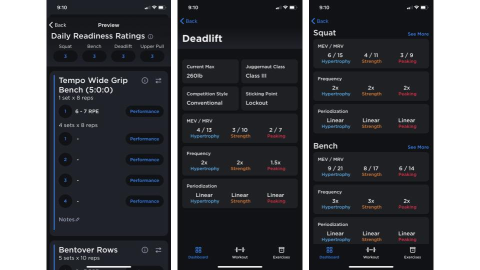 Screenshots of the JuggernautAI app showing various parts of the workout and profile dashboards