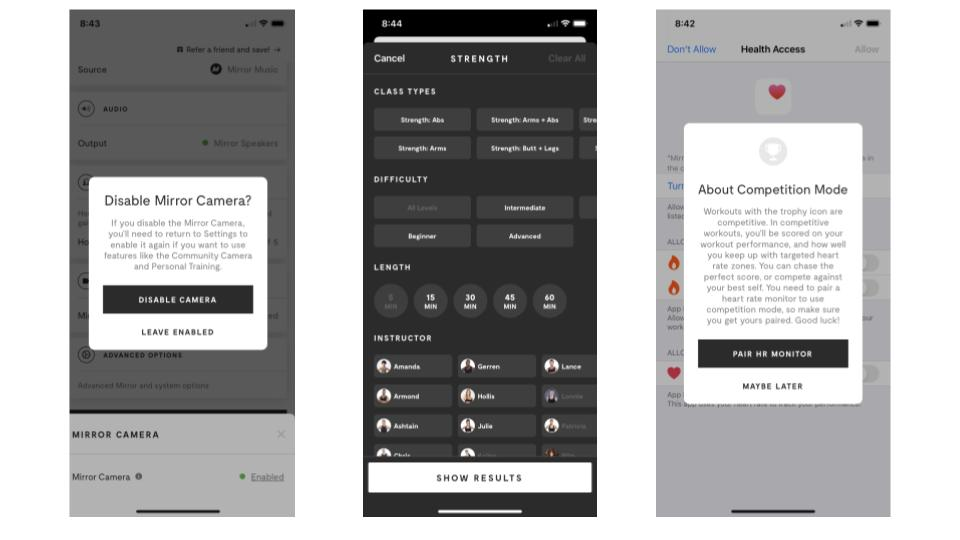 screenshots of the mirror app showing various controls