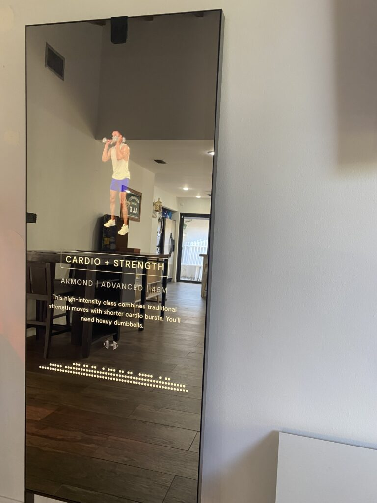 a workout is about to start on the MIRROR