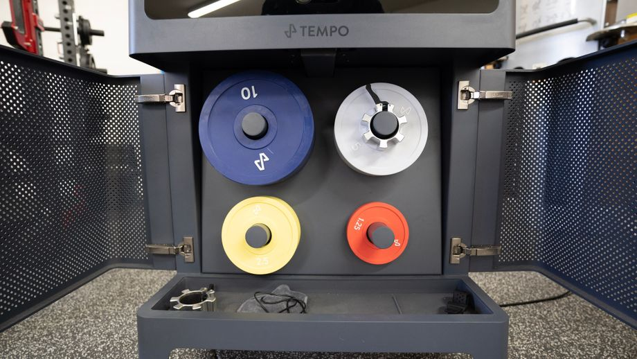 Closeup of change plates inside the front cabinet on Tempo Studio