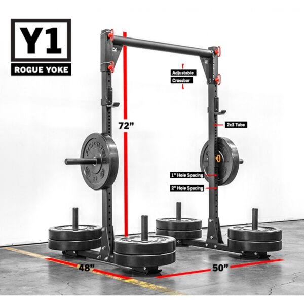 The Rogue Y-1 Yoke is made of US steel and features a crossbar, uprights, plate storage, and skid feet.